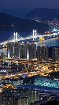 Bridges, Night, City, Light, Landscapes