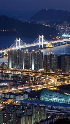 Bridges, Night, City, Light, Landscapes