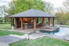 Put your backyard to good use by putting in an outdoor kitchen, an arbor, a cabana or even a custom deck or patio. Outdoor Kitchen Bars, Outdoor Kitchen Design, Patio Design, Outdoor Kitchens, Kitchen Rustic, Kitchen Modern, Pool Cabana, Outdoor Rooms, Outdoor Living Spaces