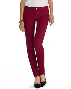 A staple silhouette that goes with anything in a luscious red hue— slim leg in full length creates a slender look. Classic five-pocket style with plenty of stretch will keep you in chic style all day or all night.