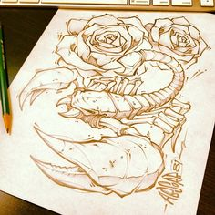 Daily squeeze! #scorpion #drawing #illustration #art #followme #sketch #absorb81 #new #rose