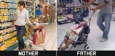 Mãe e Pai - Diferença com humor