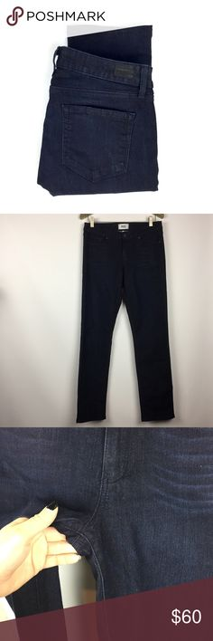 PAIGE Slyline Straight Jeans in Palmer Wash \\ 30 PAIGE Denim Jeans Size 30 Skyline Straight style Palmer dark wash Gently preowned with no flaws. No stains, no holes, no wear on fabric  80% cotton, 19% polyester, 1% elastane  16 inches across waist 9 inch rise 31.5 inch inseam 7 inch leg opening PAIGE Jeans Straight Leg
