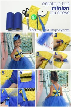 Halloween is the perfect time to flaunt your Minions pride by making an awesome DIY Minions Costume. Diy Minion Kostüm, Minion Tutu, Minion Dress, Minion Craft, Minion Costumes, Diy Halloween Costumes For Kids, Minion Party, Girl Minion Costume, Halloween Tutu Costumes