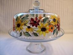 Cake Dish hand painted with sunflowers by Morningglories1 on Etsy, $50.00