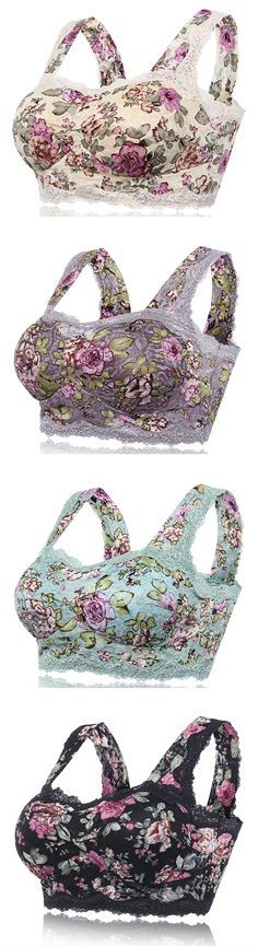 $14.66 Sexy Floral Printing Lace Hem Bras Breathable Wireless Vest Bra