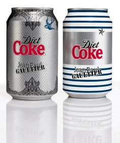 """Check out Jean Paul Gaultier for Diet Coke, now available in 330ml cans.  The """"Night & Day"""" designs feature an interpretation of the corset and iconic cone bra, alongside Gaultier's signature Breton stripes."""