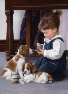 Little girl and best friends at tea time