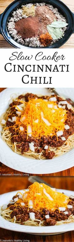 Slow Cooker Cincinnati Chili - this is one of my kids' favorite meals - pure comfort food - perfect for back to school ~ jeanetteshealthyl. Crock Pot Slow Cooker, Slow Cooker Recipes, Crockpot Recipes, Cooking Recipes, Cincinnati Chili, Slow Cooking, Pressure Cooking, Chili Recipes, Soup Recipes