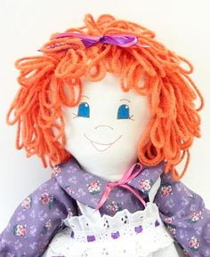 handmade rag doll, 18 inch cloth doll, homemade doll, kids, ragdoll, curly orange, purple, 157 by mpace for $49.75