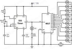Simple led chaser hobby circuit can be made using 555 timer and counter IC. Detailed working and explanation of the circuit diagram with PCB design. Hobby Electronics, Electronics Basics, Electronics Projects, Battery Charger Circuit, Caterpillar Engines, Electronic Circuit Projects, Circuit Diagram, Arduino, Counter