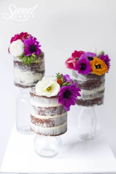 Naked Cake Trio on Glass Jars by Alisha Henderson @ Sweet Bakes  www.facebook.com/sweetbakess
