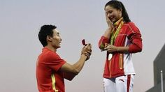 Chinese diver He Zi had just collected her silver medal in the 3m women's springboard final when fellow diver Qin Kai entered the podium presentation. He duly got down on one knee, produced an engagement ring and proposed. She said yes.