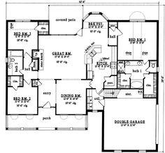 Farmhouse Style House Plan - 3 Beds 2 Baths 2079 Sq/Ft Plan #42-303 Main Floor Plan - Houseplans.com
