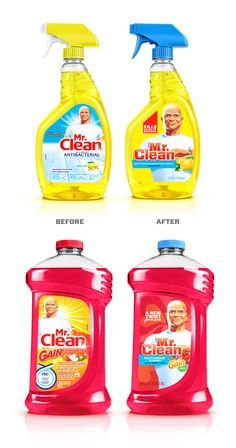Mr. Clean | Chase Design Group #PackageDesign Plastic Bottle Design, Plastic Bottles, Detergent Bottles, Laundry Detergent, Mr Clean, Disinfectant Spray, Fabric Softener, Smoothie Drinks, Cleaning