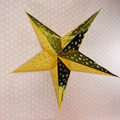 (1pc only) 45cm=18inch Gold Star Shapes DIY Paper Lanterns Hanging Party Winter Holiday Wedding Decorations