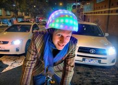 LunaHelm Is a Psychedelic LED Bike Helmet That Makes Sure You're Seen in the Dark! Cycling Helmet, Bicycle Helmet, Tin Foil Hat, Cool Bike Helmets, Helmet Hair, Safety Helmet, Bicycle Lights, Bike Rider, Daft Punk