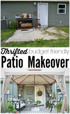 A back patio makeover on a budget! A must pin! Proving you do not have to spend a ton of money to have a beautiful patio! deck on a budget patio makeover Back Patio Makeover Full Reveal & Source List Budget Patio, Diy Patio, Pergola Patio, Pergola Kits, Small Patio Ideas On A Budget, Backyard Gazebo, Patio Decorating Ideas On A Budget, Budget Backyard Ideas, Pergola Ideas
