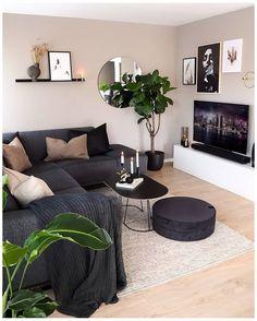 Living Room Grey, Rugs In Living Room, Modern Small Living Room, Living Area, Barn Living, Decorating Small Living Room, Small Apartment Living, Small Apartments, Living Room Ideas With Grey Couch