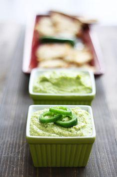 Hummus: two flavors, one batch: Cilantro-Jalapeno Hummus & Cilantro-Jalapeno Hummus with Avocado