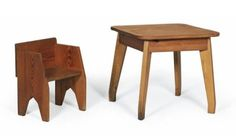 An anthroposophical child's chair and table, Germany, c. 1930, manufactured by Erwin Behr, Wendlingen, oiled coniferous wood, table: height 50 cm, 53.5 x 54.5 cm, chair: height 43.5 cm, width 35 cm, depth 26.5 cm, height of seat 25.5 cm. (DR) Behr used to produce this type of children's furniture in a slightly adapted form as long as 1954. Handmade children's chairs for the Rudolf Steiner School in Sao Paolo, Brazil (c. 1950) feature the same formal language. Comp..: H. M. Witzemann…
