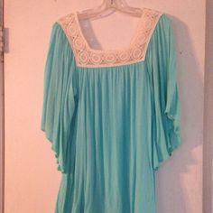 Jodifl boutique dress. Bell-sleeved. Easter dress! Turquoise with crochet collar and bell-sleeves. Very flowy and comfortable. Worn once. Would be a great spring or Easter dress. Dresses Midi