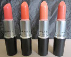 MAC All About Orange Collection  lipsticks- Flamingo, Sushi Kiss, Sweet & Sour, Razzlerdazzer