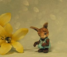 Aleah Klay Studio: Miniature Rabbit Bunny Valentine overalls Sculpture by Aleah Klay SOLD