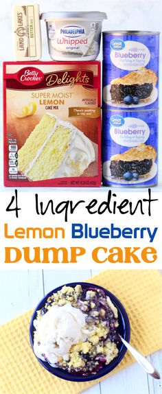 This tasty lemon blueberry cheesecake dump cake is such a yummy addition to any menu! Blueberry Dump Cakes, Lemon Blueberry Cheesecake, Lemon Cheesecake Bars, Low Carb Cheesecake Recipe, Lemon Dessert Recipes, Dump Cake Recipes, Köstliche Desserts, Homemade Desserts, Frosting Recipes