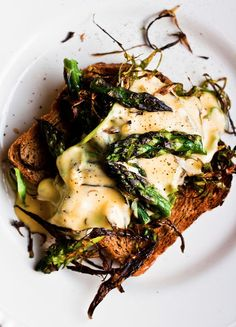 Shaved and Roasted Asparagus on Toast with Hollandaise