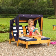 KidKraft Children's Outdoor Double Sun lounger With Umbrella & Cup Holders