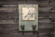 """Купить Часы - вешалка """"Акварельная птичка"""" - голубой, часы, часы настенные, часы декупаж"""