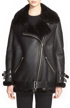 ACNE Studios 'Velocite' Genuine Shearling Oversize Moto Jacket available at #Nordstrom