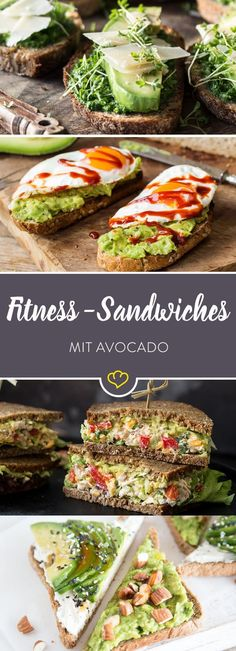 Schluss mit traurigen Stullen aus labbrigem Toast und einer einsamen Scheibe Kä… No more sad tales of sloppy toast and a lonely slice of cheese or sausage. These 10 avocado sandwiches are your new fitness snack. Fitness Snacks, Healthy Snacks, Healthy Eating, Fitness 24, Diet Snacks, Fitness Tracker, Fitness Tips, Healthy Life, Diet Recipes