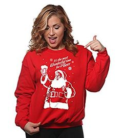 It's the Most Wonderful Time for A Beer Funny Christmas Drinking Sweatshirt at Amazon Men's Clothing store: