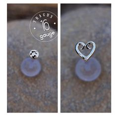 Heart and Discs TRAGUS SET 16 gauge Sterling silver Labret /16 gauge/ BioFlex/tragus heart/ tragus earring/cartilage earring on Etsy, $23.00