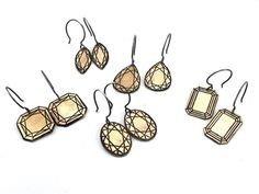 Faceted Gemstone Dangle Earrings in Sterling and Brass by rubygirl, $42.00