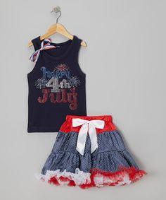 'Happy 4th Of July' Tank & Polka Dot Pettiskirt - Toddler & Girls