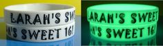 white glow in the dark wristbands for a sweet 16 bday party