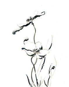 Flowers Drawing Art Print, Minimalist Abstract, Modern Art, Black and White, Floral, Wall art