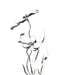 Minimalist Art Print, Flowers Drawing Art Print, Black and White, Wall Art