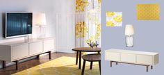 Mueble de TV STOCKHOLM beige con patas de fresno macizo tintadas