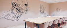 Office mural. #murals #interiordetail #officeinterior #officewall #muraldesign #officeart Office Mural, Office Walls, Office Art, Abstract Portrait, Blank Walls, Design Agency, Office Interiors, Line Drawing, Wall Murals