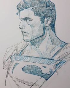 Superman by Ben Oliver * Superhero Sketches, Cartoon Sketches, Anime Drawings Sketches, Cool Art Drawings, Superman Drawing, Superman Art, Comic Drawing, Comic Books Art, Comic Art