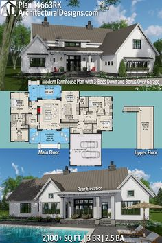 Architectural Designs Modern Farmhouse House Plan 14663RK has 3 beds and 2.5+ baths and 2,100+ square feet of heated living space PLUS optional 300+ sqft bonus over the garage. Ready when you are. Where do YOU want to build? #14663RK #adhouseplans #archit