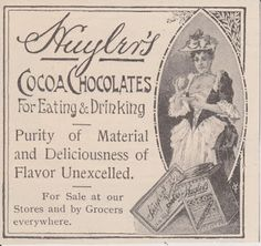 Free Vintage Clipart, Vintage Magazine Ads and Vintage Artwork Perfect for Home & Man-Cave Decor: Vintage 1892 Huyler's Cocoa Chocolates For Eating & Drinking Original Print Ad