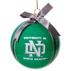 "North Dakota 4"" Striped Ball Ornament"