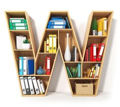 Letter W. Alphabet in the form of shelves with file folder, binders and books isolated on white. Archival, stacks of documents at stock illustration School Furniture, Kids Furniture, Furniture Design, Corner Shelf Design, Bookshelf Design, H Alphabet, 3d Foto, Creative Bookshelves, Shelving