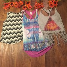 Bundle of tank tops! Black and white top with slit back, size S. Multi color elephant tank is size S. Fringe gray paradise size S Tops Tank Tops