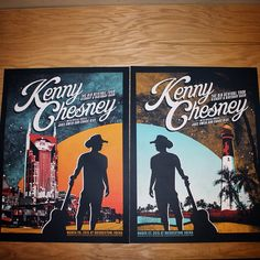 Show posters we designed and printed for @kennychesney 's two night stand at @bridgestonearenaofficial ! #nashville #beach #bluechairbay #country #kennychesney #screenprinting